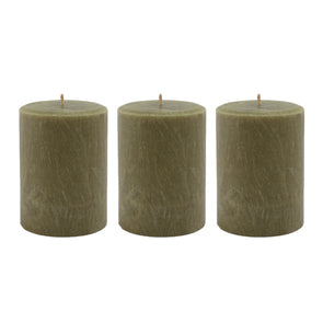 Northern Lights Candles / 3x4 Palm Pillar - Moss Green (3 Pack)