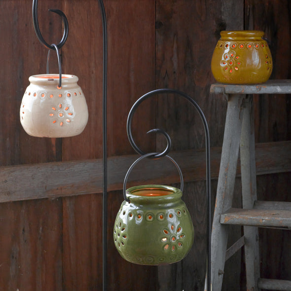 Northern Lights Candles / Stoneware Lantern - Wheat