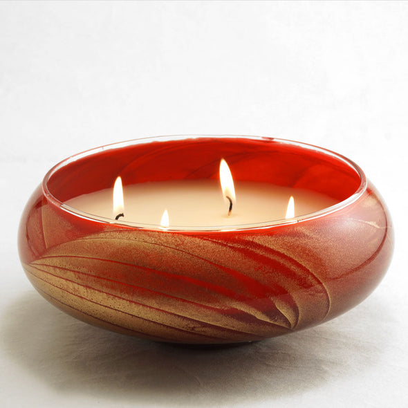 "Northern Lights Candles / 8"" Bowl - Mahogany"