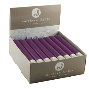 "Northern Lights Candles / 7"" Tapers 24pk - Plum"