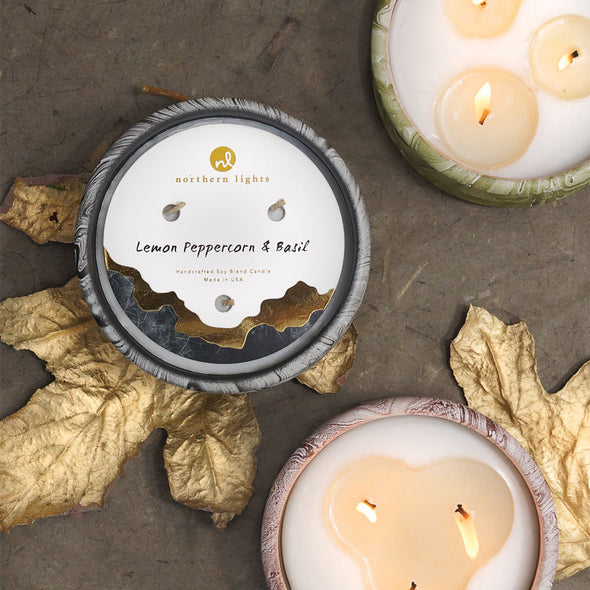 Northern Lights Candles / Roca - Kalamata Leaves & Citron
