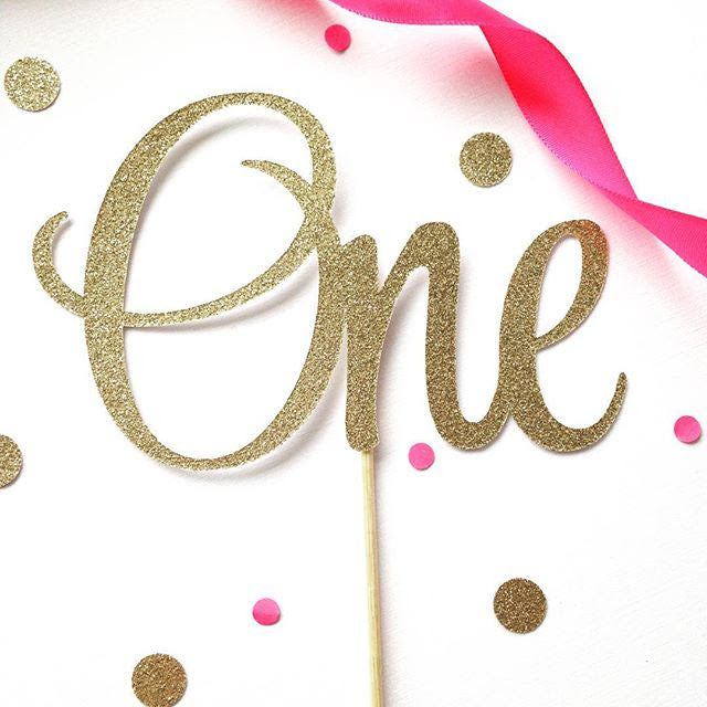 Gold sparkle 'ONE' cake topper - Little Rose Party Company