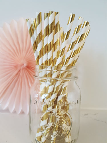 Gold twist paper straws - Little Rose Party Company