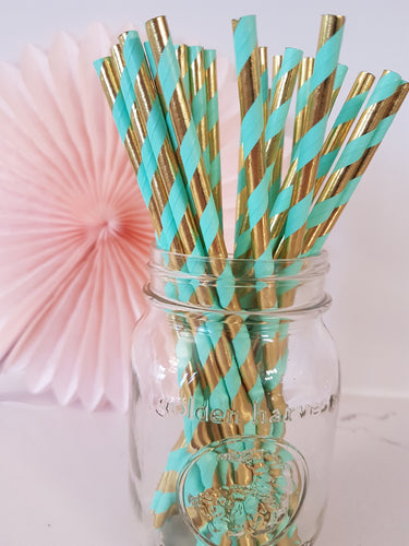 Mint & gold paper straws - Little Rose Party Company