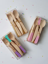 Pink wooden cutlery set - Little Rose Party Company