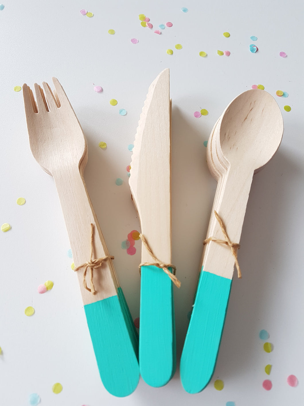 Turquoise cutlery set - Little Rose Party Company
