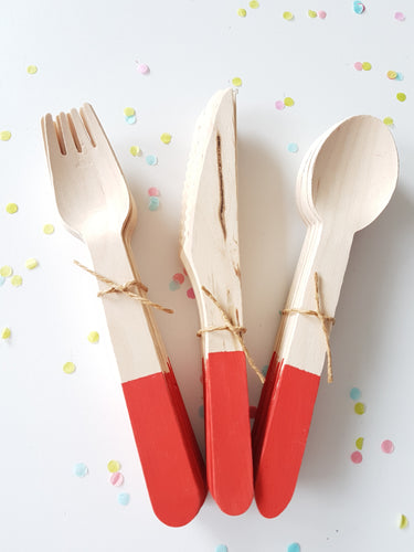 Red cutlery set - Little Rose Party Company