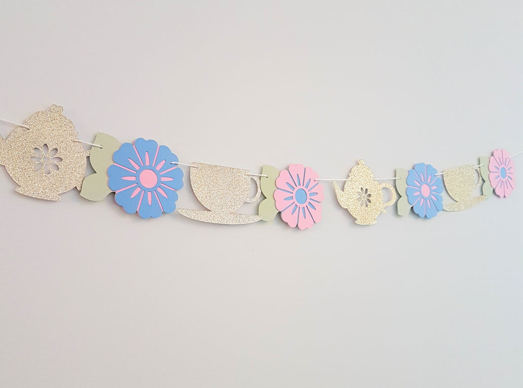 Tea party garland - Little Rose Party Company