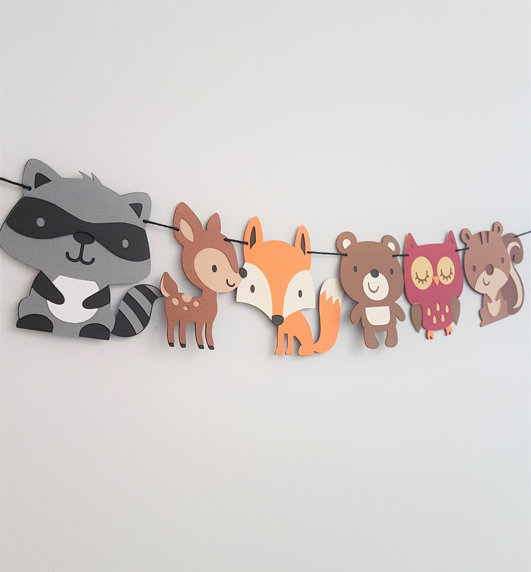 Woodland animal garland - Little Rose Party Company