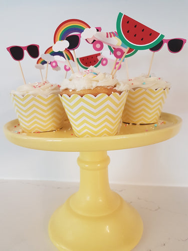 Fun in the sun cupcake toppers - Little Rose Party Company