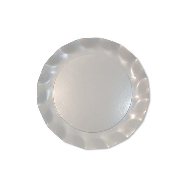 Pearly white petalo dessert plates - Little Rose Party Company