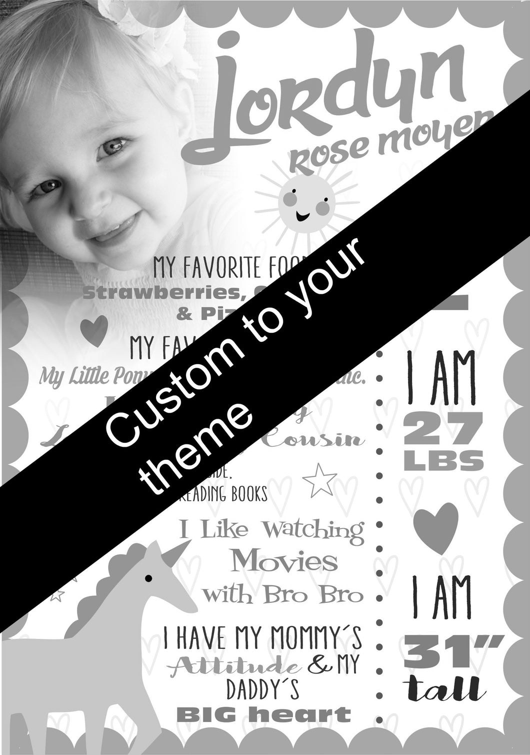Fun in the sun! Custom memory board. - Little Rose Party Company