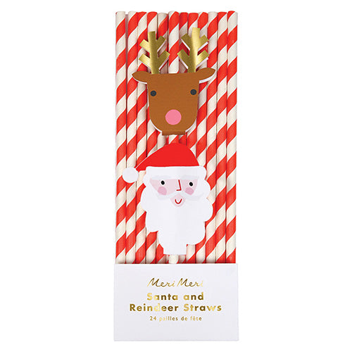 Santa & Reindeer straws - Little Rose Party Company