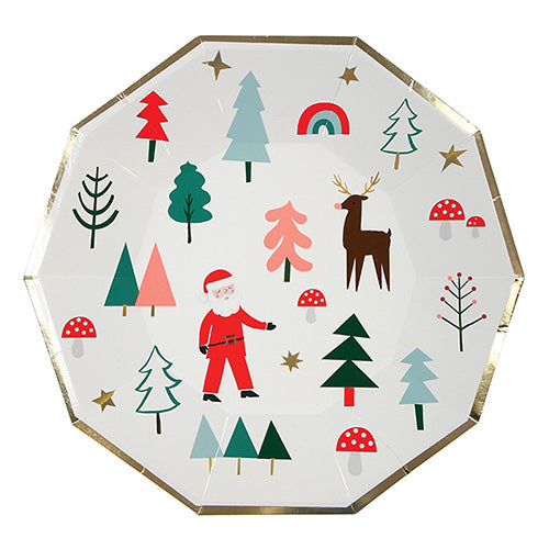 Santa and friends large plate - Little Rose Party Company