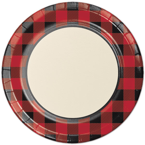 Buffalo plaid large plate - Little Rose Party Company