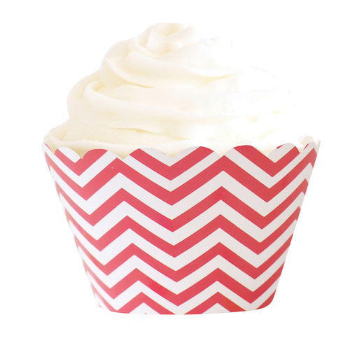 Red chevron cupcake wrappers - Little Rose Party Company