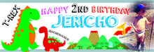 Dinosaur themed custom printed banner - Little Rose Party Company