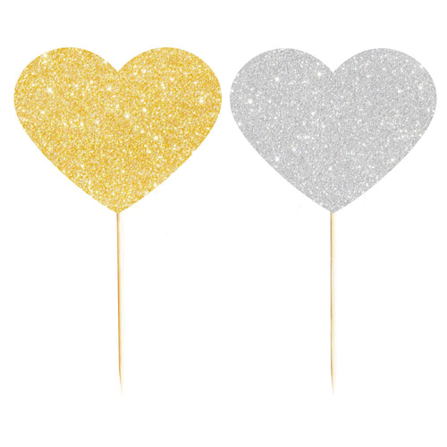 Silver & Gold heart cupcake toppers - Little Rose Party Company