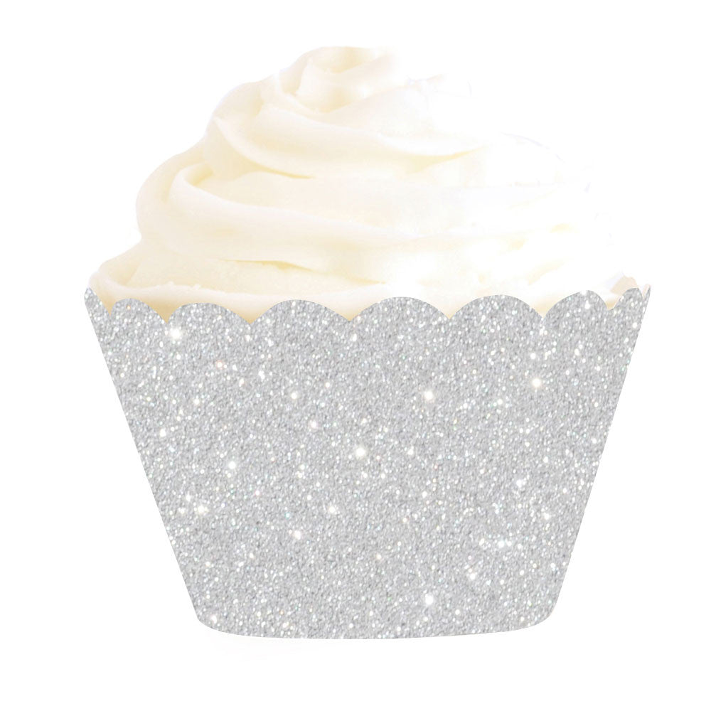 Silver sparkle cupcake wrappers - Little Rose Party Company