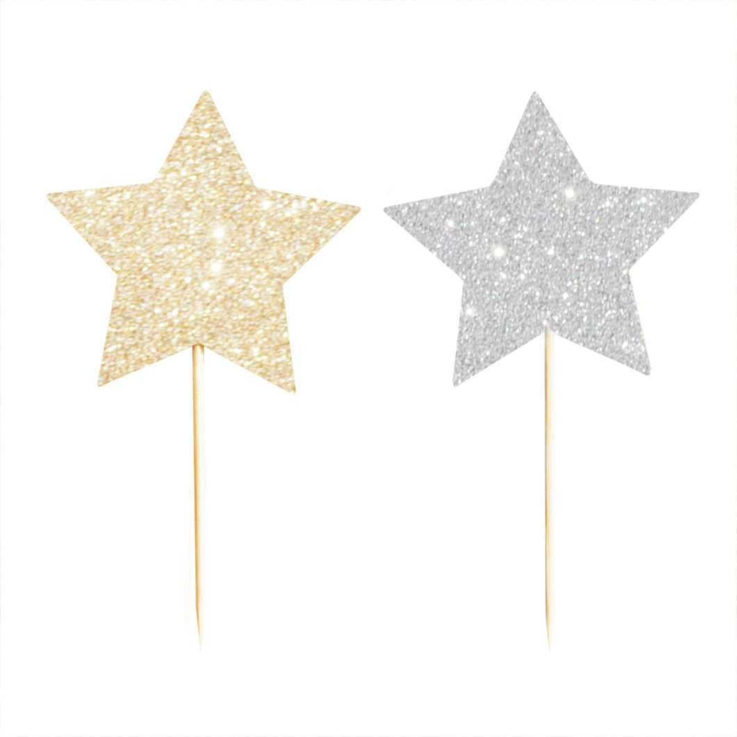 Silver & Gold star cupcake toppers - Little Rose Party Company
