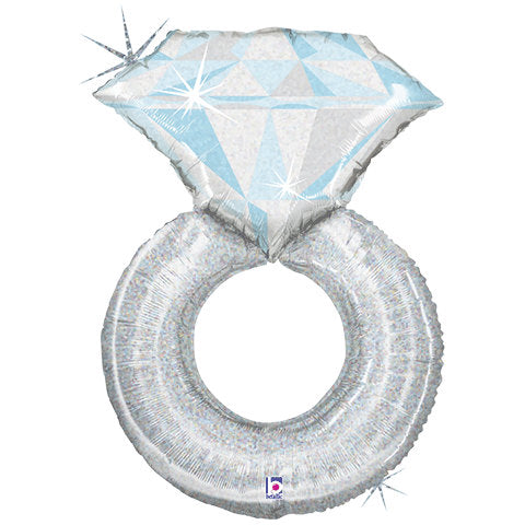 Platinum diamond ring foil balloon - Little Rose Party Company