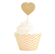Gold chevron cupcake wrapper - Little Rose Party Company