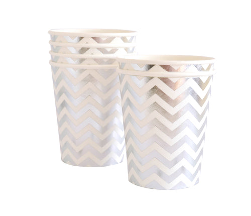 Silver chevron cups - Little Rose Party Company