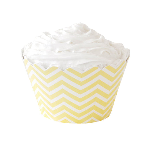 Yellow chevron cupcake wrappers - Little Rose Party Company