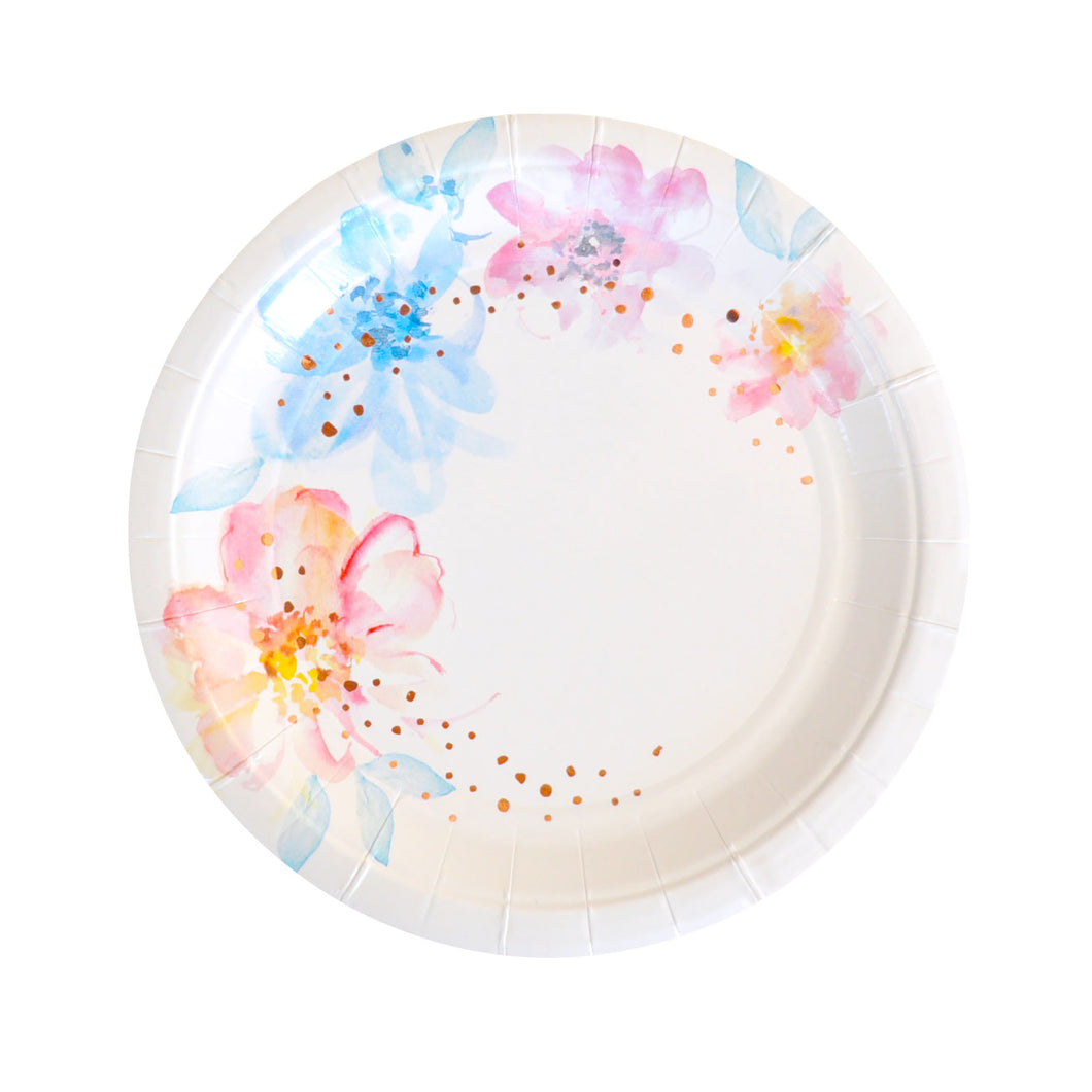 Watercolour large floral plates - Little Rose Party Company