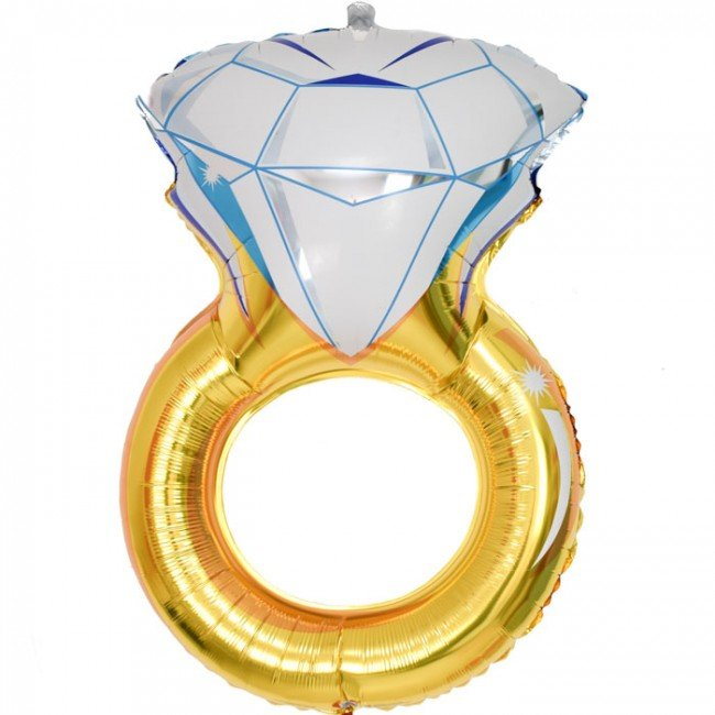 Gold diamond ring foil balloon - Little Rose Party Company