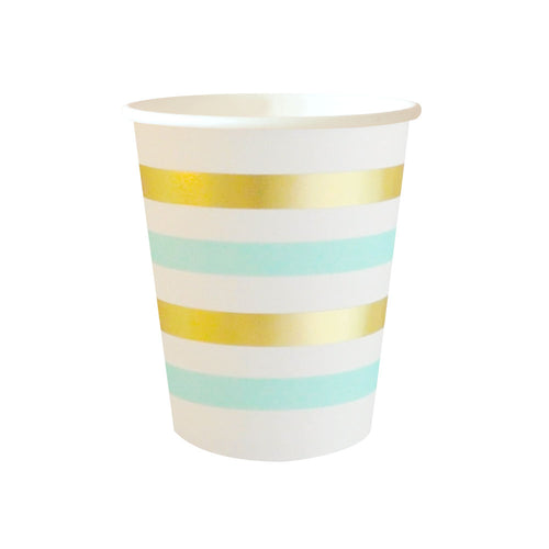 Gold and mint striped cups - Little Rose Party Company