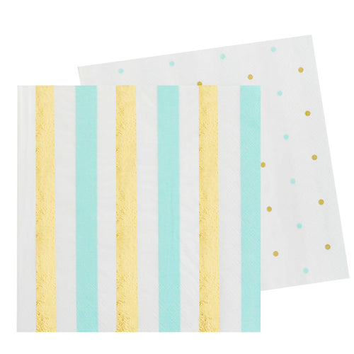 Gold and mint stripes & spots napkin - Little Rose Party Company