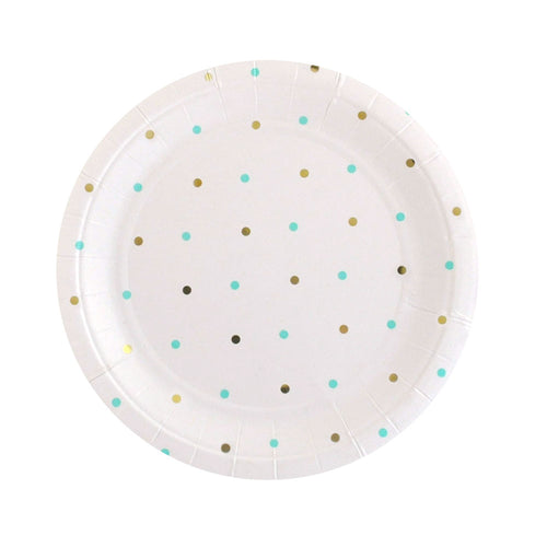 Gold & mint spots dessert plates - Little Rose Party Company
