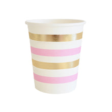 Gold and pink striped cup - Little Rose Party Company