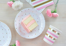 Gold & pink spots dessert plate - Little Rose Party Company