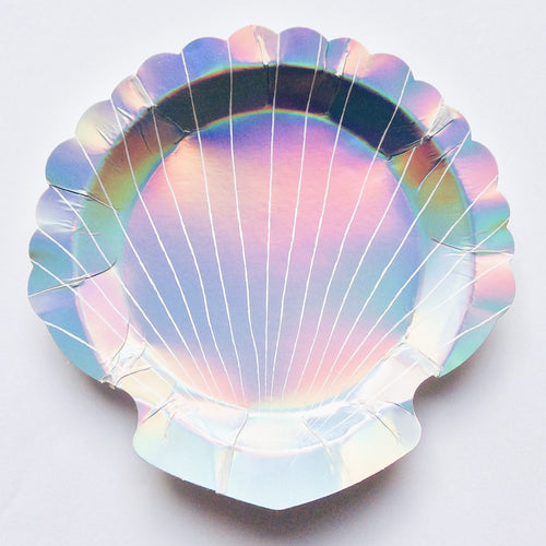 Iridescent shell dessert plate - Little Rose Party Company