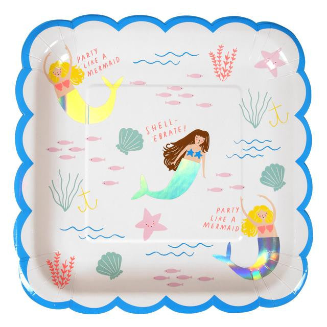 Let's be mermaids large plate - Little Rose Party Company