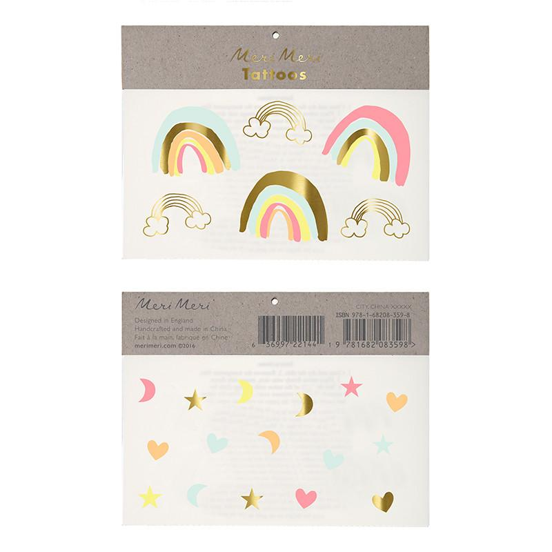 Neon rainbows & hearts tattoos - Little Rose Party Company