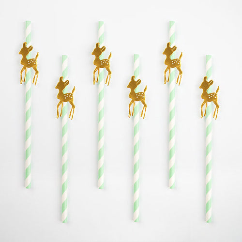 Golden fawn straws - Little Rose Party Company