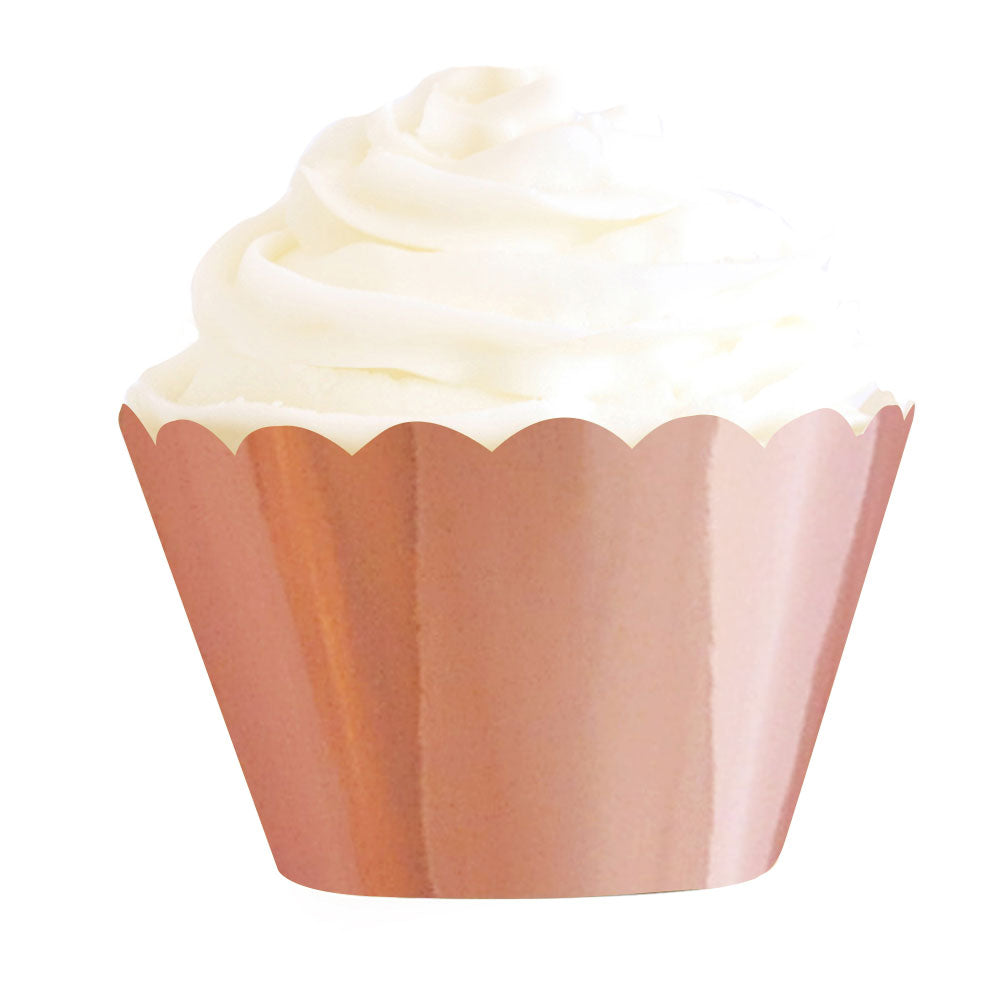 Rose gold foil cupcake wrapper - Little Rose Party Company