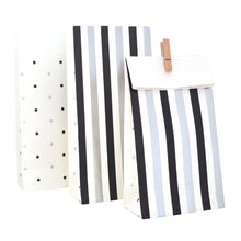 Black and silver spots & stripes goody bags