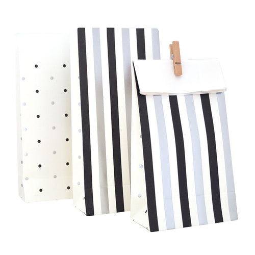 Black and silver spots & stripes goody bags - Little Rose Party Company