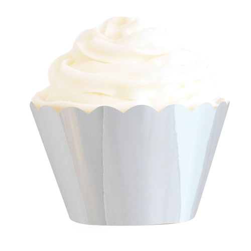 Silver cupcake wrappers - Little Rose Party Company