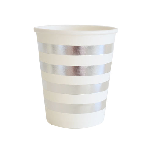 Silver stripe cups - Little Rose Party Company