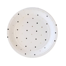 Silver and black spots dessert plate - Little Rose Party Company