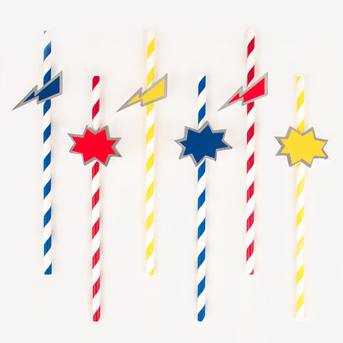 Let's be Superheros straws - Little Rose Party Company