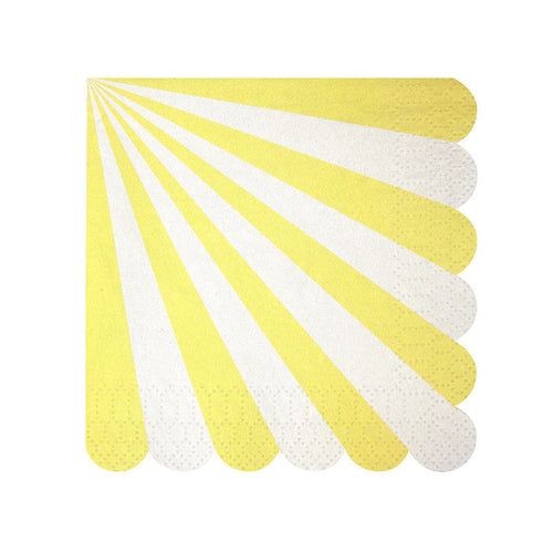 Yellow scallop striped napkin - Little Rose Party Company