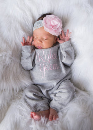Personalized Baby Girl Romper Set with Matching Floral Headband