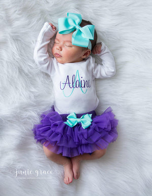 Purple and Aqua Baby Girl Tutu and Personalized Bodysuit