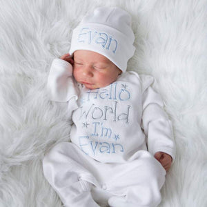 Personalized Baby Boy Romper Set with Matching Hat